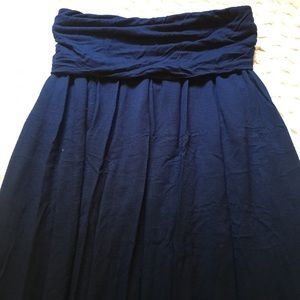 A.N.A Maxi Skirt Petite XS Navy Stretch Fold Over